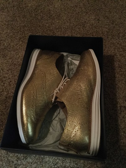 Cole Haan Metallic Oxford Gold Flats Image 5