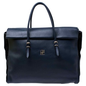 Carolina Herrera Leather Front Flap Flat Satchel in Navy Blue