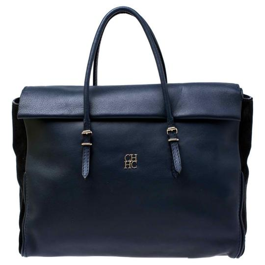 Preload https://img-static.tradesy.com/item/26471605/carolina-herrera-blueblack-navy-blue-leather-satchel-0-0-540-540.jpg