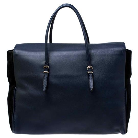 Carolina Herrera Leather Front Flap Flat Satchel in Navy Blue Image 1