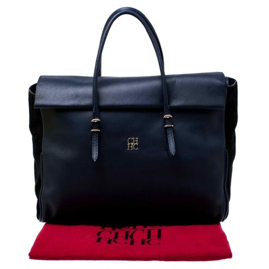 Carolina Herrera Leather Front Flap Flat Satchel in Navy Blue Image 11