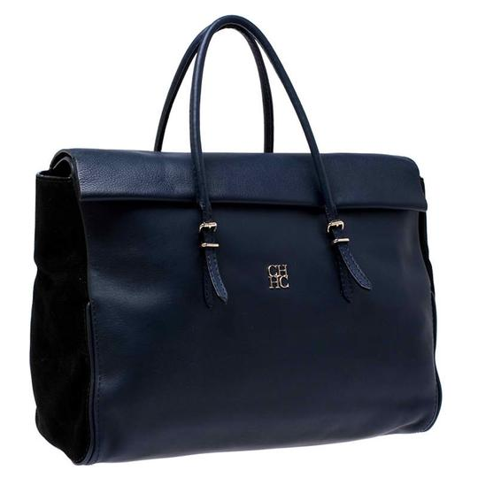 Carolina Herrera Leather Front Flap Flat Satchel in Navy Blue Image 3
