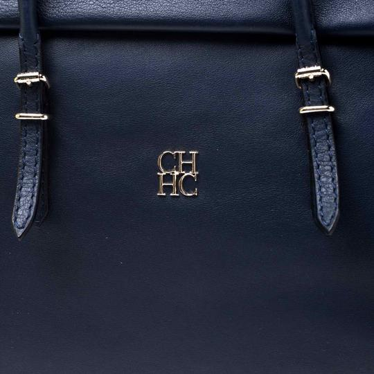 Carolina Herrera Leather Front Flap Flat Satchel in Navy Blue Image 5