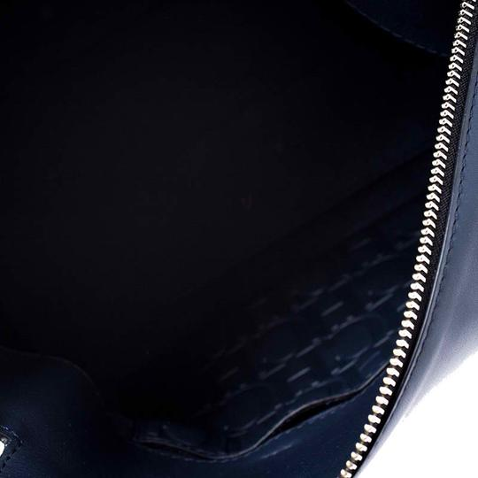 Carolina Herrera Leather Front Flap Flat Satchel in Navy Blue Image 6