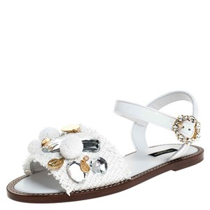 Dolce&Gabbana Patent Leather Raffia Crystal Embellished White Sandals