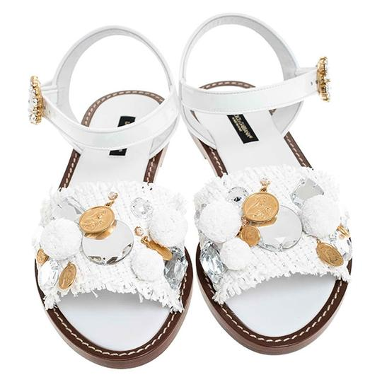Dolce&Gabbana Patent Leather Raffia Crystal Embellished White Sandals Image 1