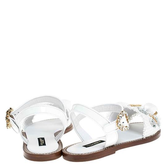 Dolce&Gabbana Patent Leather Raffia Crystal Embellished White Sandals Image 2