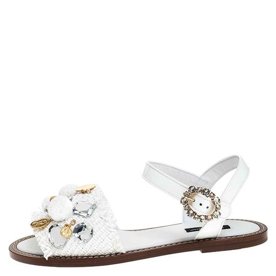 Dolce&Gabbana Patent Leather Raffia Crystal Embellished White Sandals Image 4