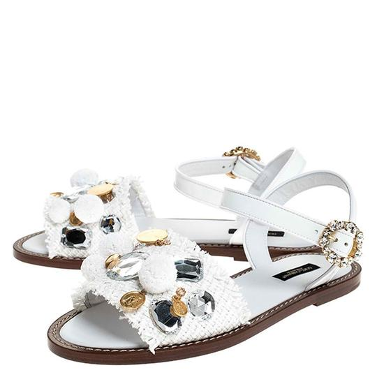 Dolce&Gabbana Patent Leather Raffia Crystal Embellished White Sandals Image 5