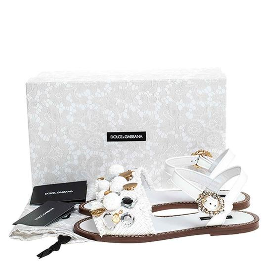 Dolce&Gabbana Patent Leather Raffia Crystal Embellished White Sandals Image 7