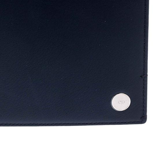 Christian Dior Homme Navy Blue Pebbled Leather Passport Cover Image 3