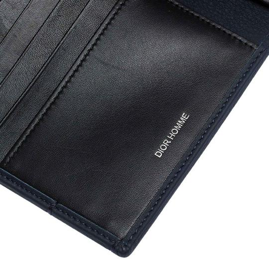 Christian Dior Homme Navy Blue Pebbled Leather Passport Cover Image 8