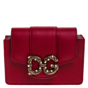 Dolce&Gabbana Dolce and Gabbana Red Leather DG Amore Card Holder