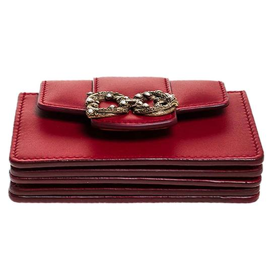 Dolce&Gabbana Dolce and Gabbana Red Leather DG Amore Card Holder Image 3