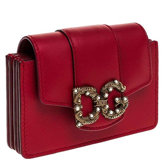 Dolce&Gabbana Dolce and Gabbana Red Leather DG Amore Card Holder Image 6