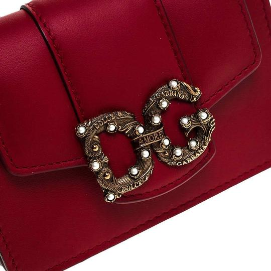 Dolce&Gabbana Dolce and Gabbana Red Leather DG Amore Card Holder Image 7