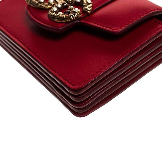 Dolce&Gabbana Dolce and Gabbana Red Leather DG Amore Card Holder Image 8