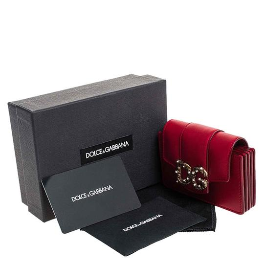 Dolce&Gabbana Dolce and Gabbana Red Leather DG Amore Card Holder Image 9