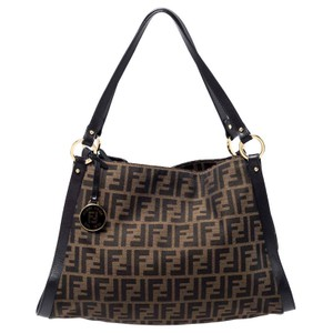 Fendi Canvas Leather Logo Charm Tote in Brown