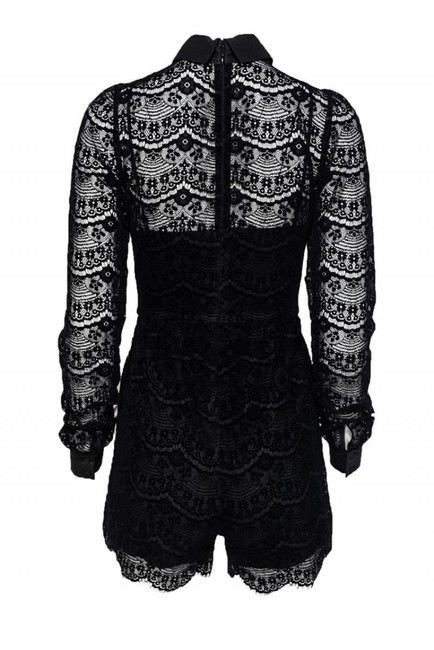 Parker Rompers Velvet Lace Button Down Shirt black Image 2
