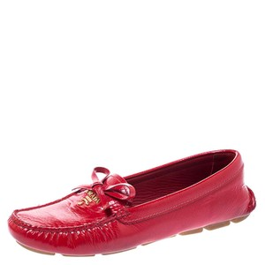 Prada Patent Leather Leather Red Flats