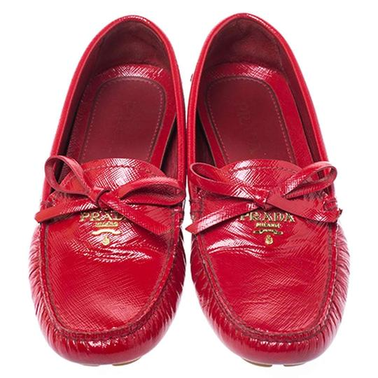 Prada Patent Leather Leather Red Flats Image 1