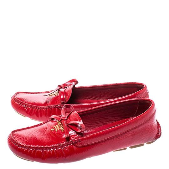 Prada Patent Leather Leather Red Flats Image 4