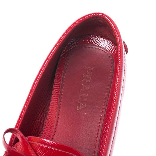 Prada Patent Leather Leather Red Flats Image 5