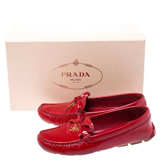Prada Patent Leather Leather Red Flats Image 7