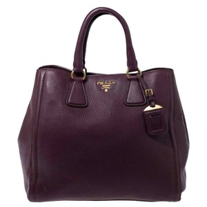 Prada Leather Nylon Logo Detail Tote in Burgundy