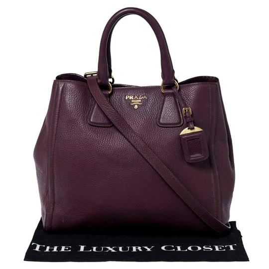 Prada Leather Nylon Logo Detail Tote in Burgundy Image 10