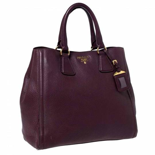 Prada Leather Nylon Logo Detail Tote in Burgundy Image 3