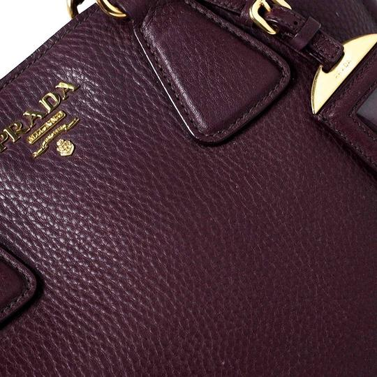 Prada Leather Nylon Logo Detail Tote in Burgundy Image 5