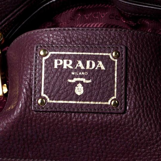 Prada Leather Nylon Logo Detail Tote in Burgundy Image 7