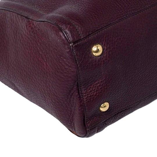 Prada Leather Nylon Logo Detail Tote in Burgundy Image 9