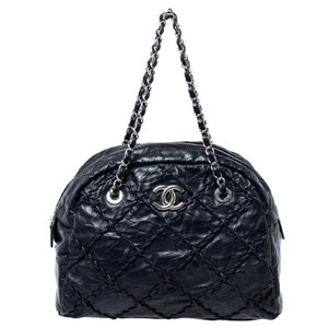 Chanel Leather Quilted Chain Woven Signature Satchel in Black