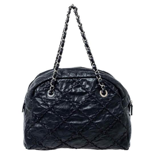 Chanel Leather Quilted Chain Woven Signature Satchel in Black Image 1