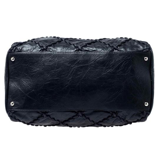 Chanel Leather Quilted Chain Woven Signature Satchel in Black Image 4