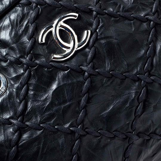 Chanel Leather Quilted Chain Woven Signature Satchel in Black Image 5