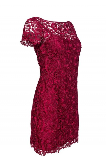 Aidan Mattox Fuchsia Lace Dress Image 1