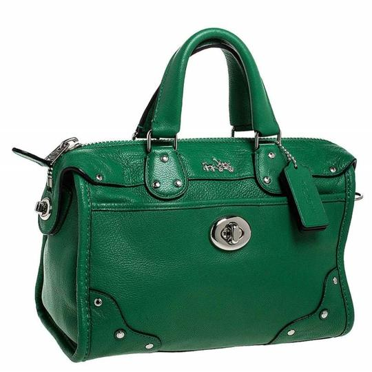Coach Leather Mini Satchel in Green Image 3