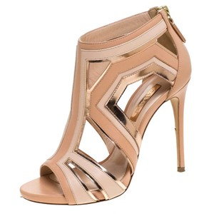 Casadei Leather Cut-out Open Toe Beige Sandals