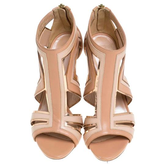 Casadei Leather Cut-out Open Toe Beige Sandals Image 2