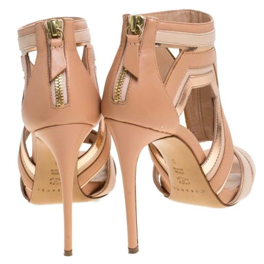Casadei Leather Cut-out Open Toe Beige Sandals Image 3