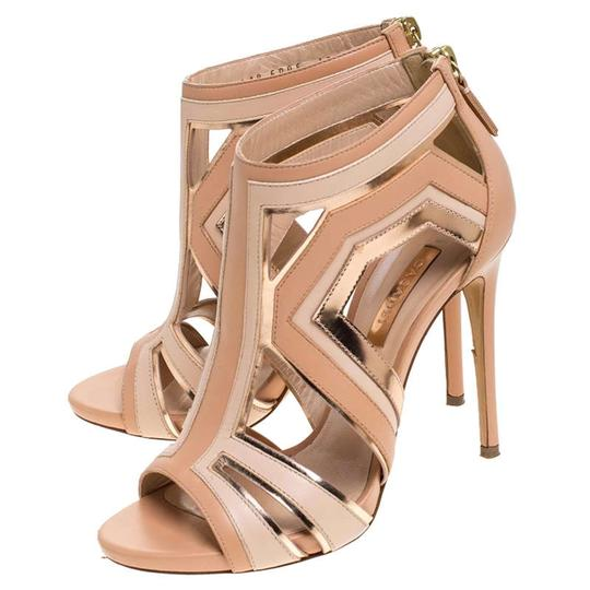 Casadei Leather Cut-out Open Toe Beige Sandals Image 4