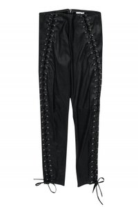 LPA Leather Laceup Straight Pants black