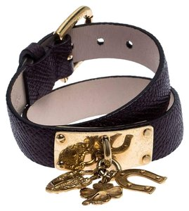Dolce&Gabbana Brown Leather Gold Tone Wrap Charm Bracelet