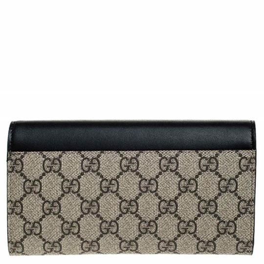 Gucci Beige/Black GG Supreme Canvas and Leather Flap Wallet Image 1
