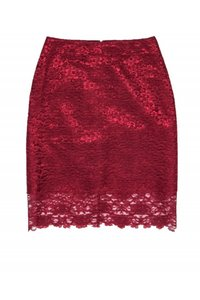 Reiss Burgundy Lace Pencil Skirt Red