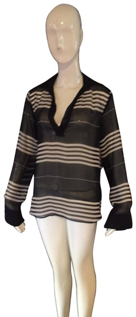 Item - Tan and Black Blouse Size 6 (S)
